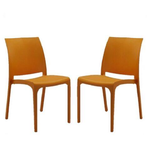 Sedia VOLGA in polipropilene impilabile arancio set 2 (Arancio - 2 SEDIE )