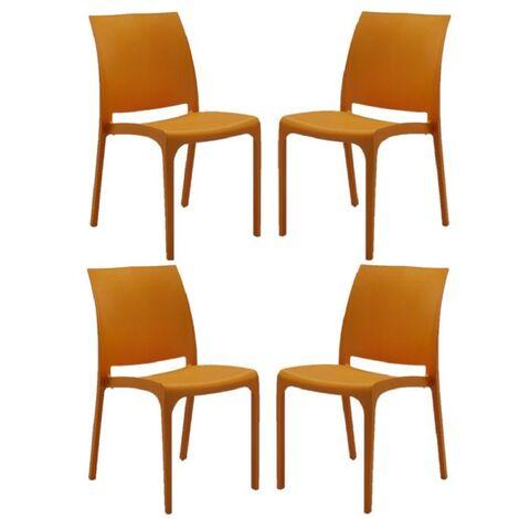 Sedia VOLGA in polipropilene impilabile arancio set 4 (Arancio - 4 SEDIE)