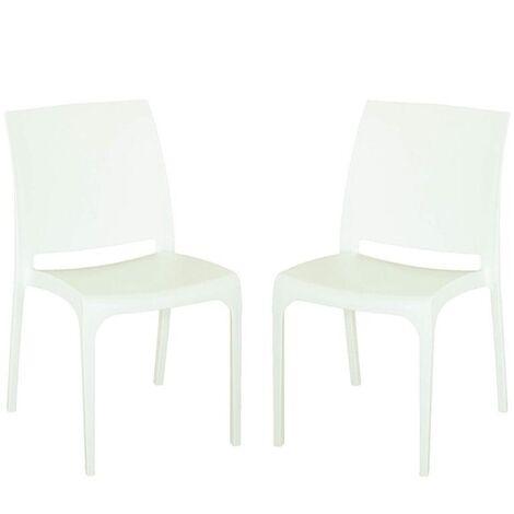 Sedia VOLGA in polipropilene impilabile bianca set 2 (Bianco - 2 SEDIE )