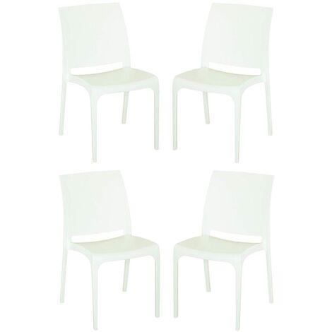 Sedia VOLGA in polipropilene impilabile bianca set 4 (Bianco - 4 SEDIE)
