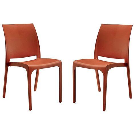 Sedia VOLGA in polipropilene impilabile Rossa set 2 (Rosso - 2 SEDIE )