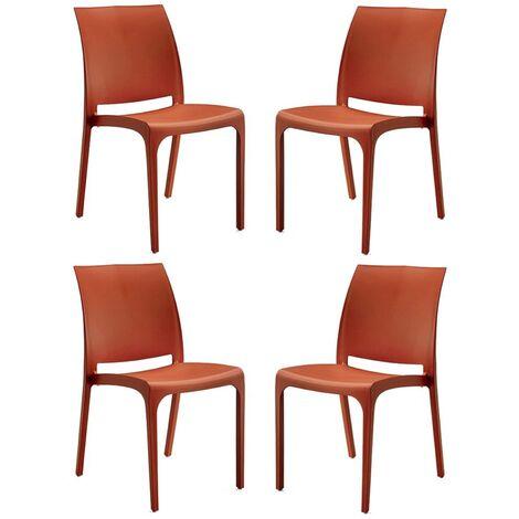 Sedia VOLGA in polipropilene impilabile Rossa set 4 (Rosso - 4 SEDIE)
