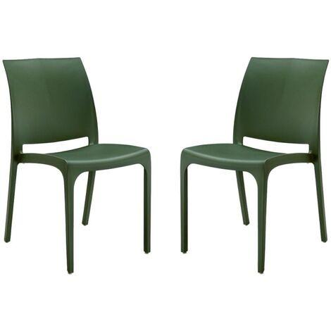 Sedia VOLGA in polipropilene impilabile verde chiaro set 2 (verde chiaro - 2 SEDIE )