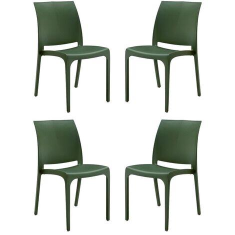Sedia VOLGA in polipropilene impilabile verde chiaro set 4 (verde chiaro - 4 SEDIE)