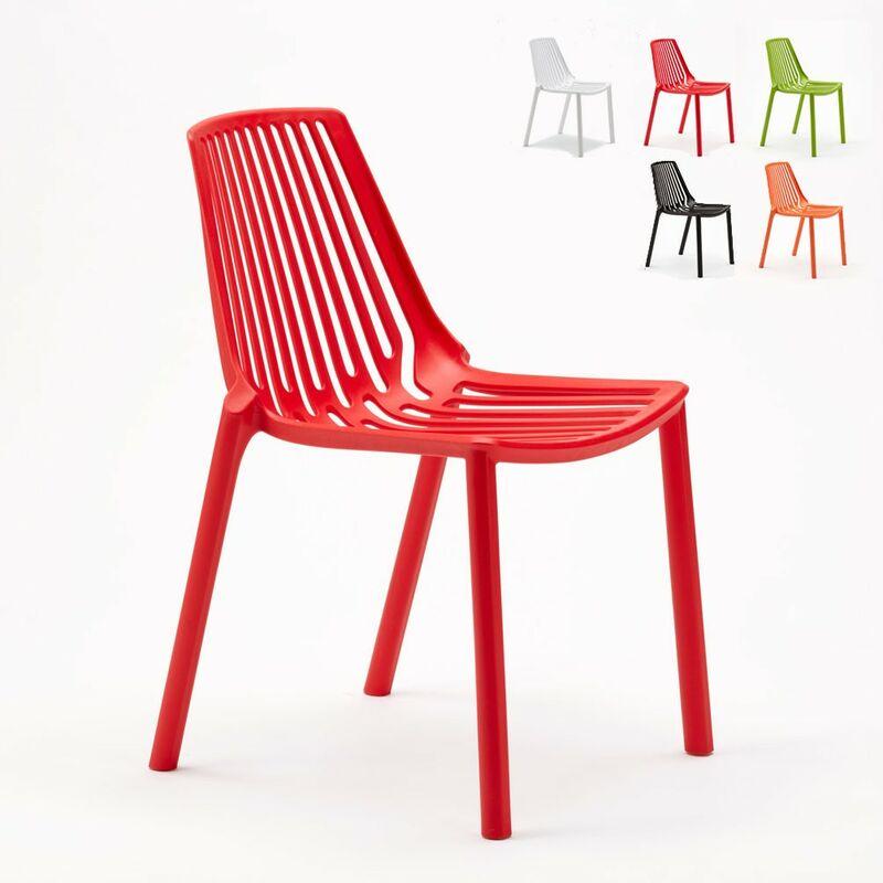 Sedie esterni ed interni per bar ristorante e giardino impilabile in polipropilene Design LINE | Rosso