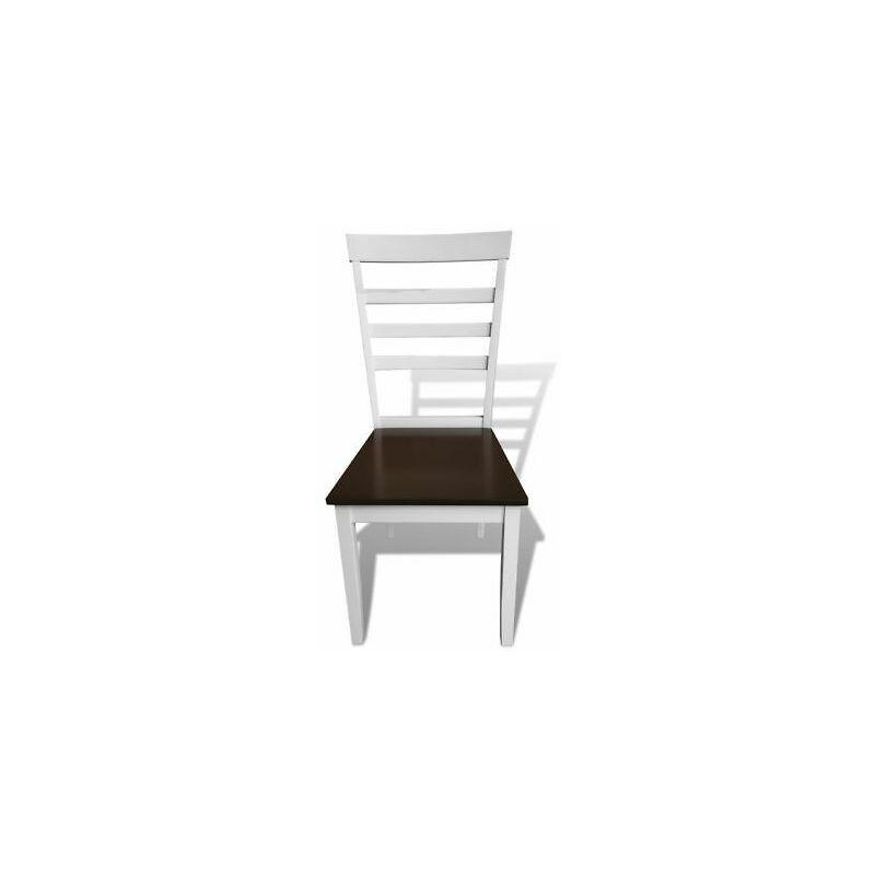 Sedie cucina sala da pranzo in legno massello marrone e bianco moderne set 8 pz