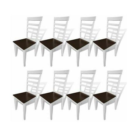 Sedie Cucina Sala.Sedie Cucina Sala Da Pranzo In Legno Massello Marrone E Bianco Moderne Set 8 Pz