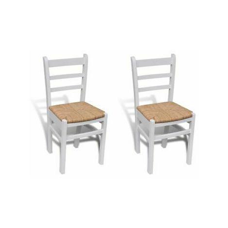 Sedie da Cucina Rustiche con seduta in Vimini in Legno Set 2 o 4 PEZZI