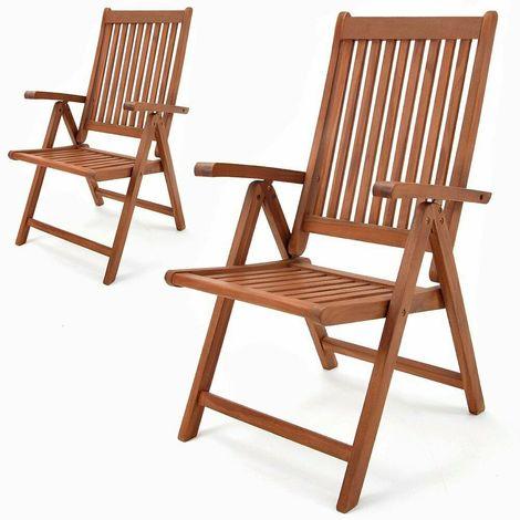 Sedie Per Giardino Legno.Sedie Da Giardino Set 2 Sedie In Legno Di Eucalipto Pieghevoli In