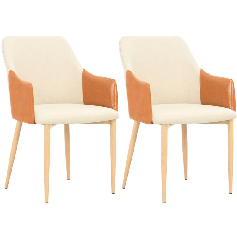 Sedie Design Legno E Pelle.Sedie Da Pranzo 2 Pezzi In Tessuto E Pelle Seduta Imbottita E