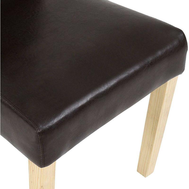 Sedie da pranzo cucina moderne set 2 pz rivestimento in ecopelle gambe in legno colore principale: marrone