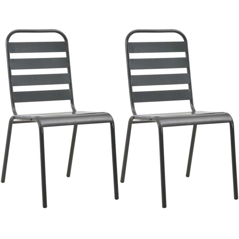 Sedie da Esterno Impilabili 2 pz in Acciaio Grigio - Grigio - Vidaxl