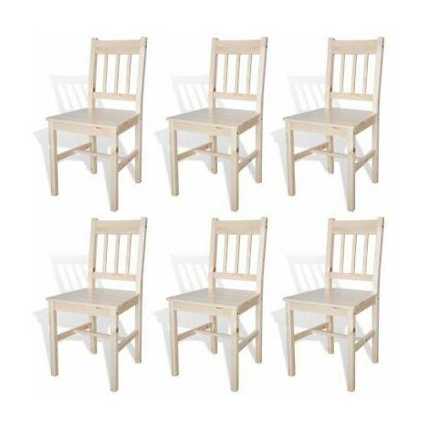 Sedie da pranzo in legno colore naturale set 6 pz 271498 for Sedie da pranzo economiche