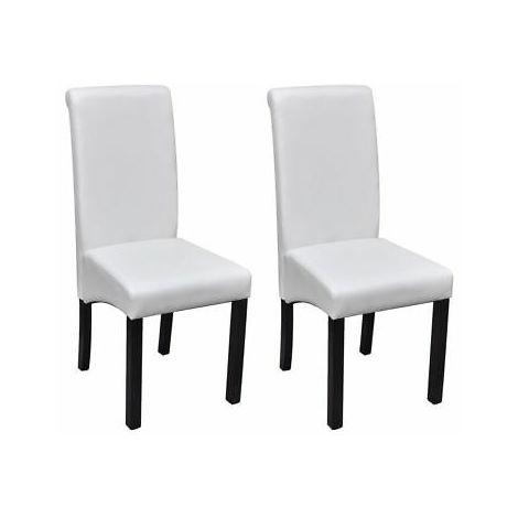 Sedie da pranzo in pelle artificiale bianca set 2 pezzi - 241728