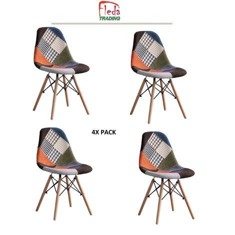 Sedie Modello Eiffel in PP Confezione da 4 PZ Rivestimento in tessuto PatchWork - 1FPP623B/2020