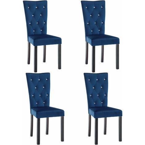 Sedie per sala da pranzo 4 pz in velluto blu scuro for Sedie blu cucina