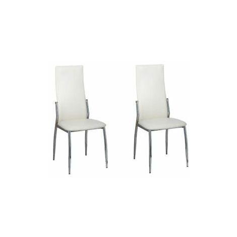 Sedie per sala da pranzo in pelle sintetica bianca set 2 pz - 60571