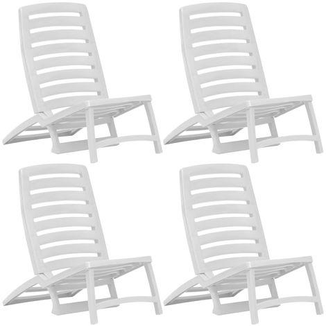 Sedie Di Plastica Pieghevoli.Sedie Pieghevoli Da Spiaggia 4 Pz In Plastica Bianca 45624it