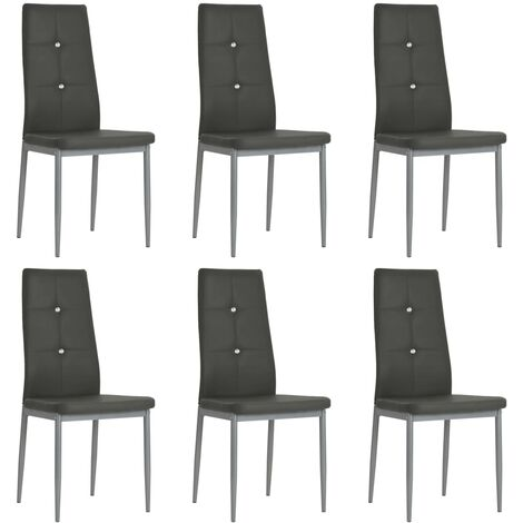 Sedie Sala da Pranzo 6 pz Pelle Artificiale 43x43,5x96cm Grigio -