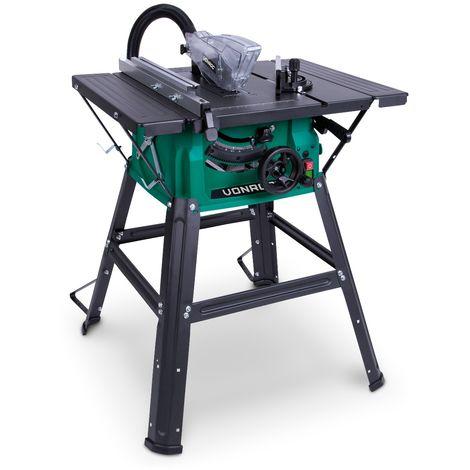 Sega da tavolo con banco VONROC 1500W, Ø 210 x 30 x 2.8/1.8 mm 40T. Include 2 estensioni per tavolo, una lama, un tubo per aspirapolvere e una guida parallela.
