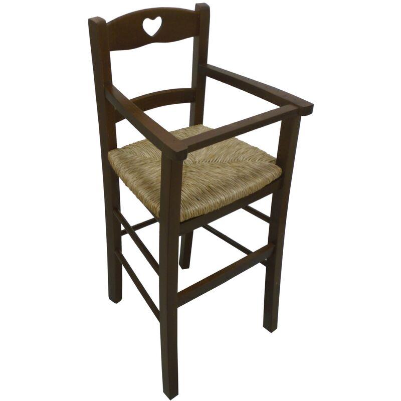Seggiolone sediolone sedia sgabello in legno noce marrone ...