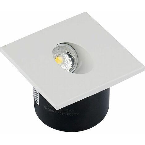 Faretto LED V-TAC Segnapasso Quadrato Montaggio a Incasso 3W Colore Bianco 3000K IP20