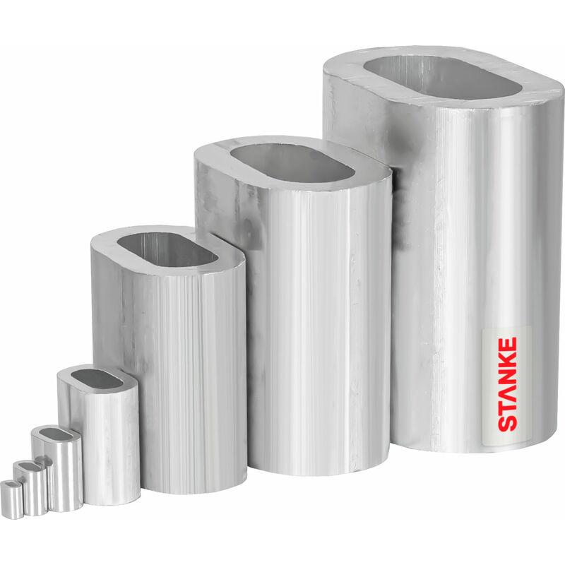 Seilwerk STANKE 10x Manchon en Aluminium Taille 16 Serre-câble Douille de Serrage des Câbles d'Acier 16 mm -