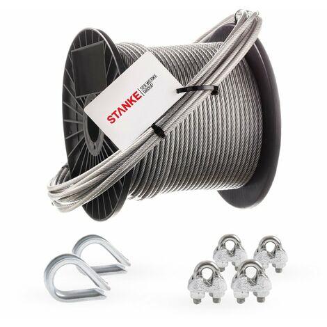 Seilwerk STANKE Câble d'acier galvanisé gainé (couche PVC) 5m diamètre 2mm 1x19, 2x Cosse-coeur, 4x Serre-câble à étrier - SET 1