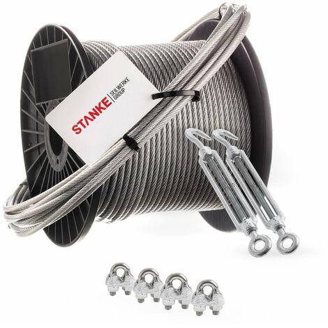 Seilwerk STANKE Câble d'acier galvanisé gainé (couche PVC) 5m diamètre 2mm 1x19, 2x Tendeur M5 Œil-Crochet, 4x Serre-câble à étrier - SET 4