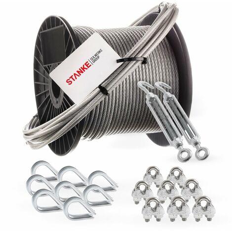Seilwerk STANKE Câble d'acier galvanisé gainé (couche PVC) 5m diamètre 2mm 1x19, 2x Tendeur M5 Œil-Crochet, 8x Cosse-Cœur, 8x Serre-Câble à étrier - SET 5