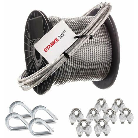 Seilwerk STANKE Câble d'acier galvanisé gainé (couche PVC) 5m diamètre 2mm 1x19, 4x Cosse-coeur, 8x Serre-câble à étrier - SET 2