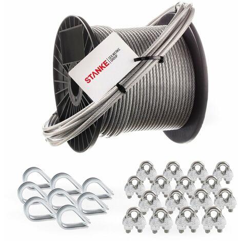 Seilwerk STANKE Câble d'acier galvanisé gainé (couche PVC) 5m diamètre 2mm 1x19, 8x Cosse-coeur, 16x Serre-câble à étrier - SET 3
