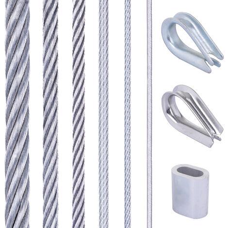 Seilwerk STANKE Corde à linge, Câble d'acier galvanisé gainé (couche PVC) 1m 6x7 4mm, 4x Manchon de serrage, 2x Cosse-cœur en acier inoxydable