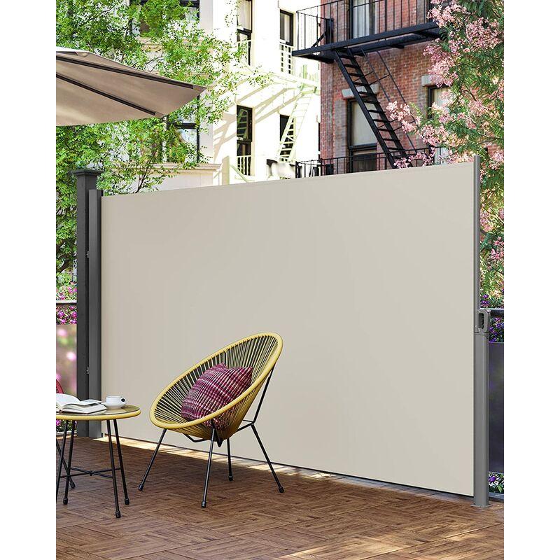 Seitenmarkise 160 x 350cm, für Balkon und Terrasse, Sichtschutz,  Sonnenschutz, Seitenrollo, Der hochdichte Markisenstoff 280g/m²  Beige/Rauchgrau