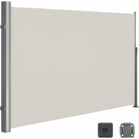 Seitenmarkise 180 x 350cm Markisenstoff aus Polyester 280g/m² 2 Montagearten Beige/Rauchgrau