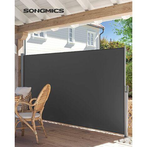 Seitenmarkise, 180 x 400 cm (H x L), Sichtschutz, Sonnenschutz, Seitenrollo, für Balkon, Terrasse, Garten, grau GSA184G - Grey