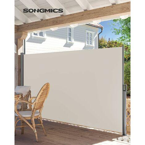 Seitenmarkise 200 x 350cm Markisenstoff aus Polyester 280g/m² 2 Montagearten Beige/Rauchgrau