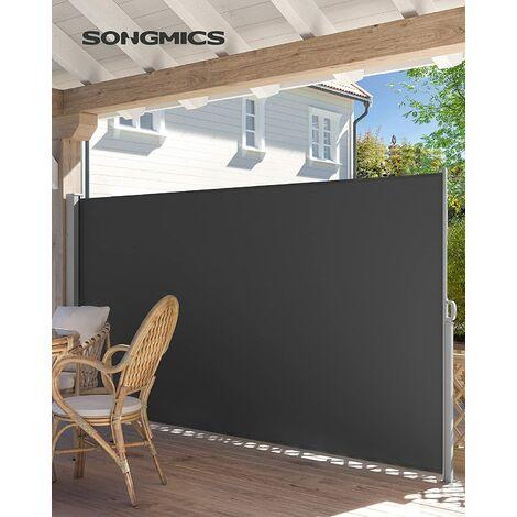 Seitenmarkise für Balkon und Terrasse, 160 x 300 cm Rauchgrau/Taupe