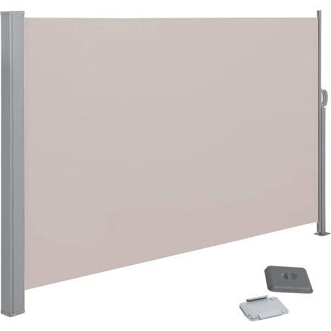 Seitenmarkise für Balkon und Terrasse, 180 x 300 cm Rauchgrau/Taupe