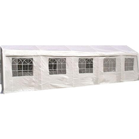 Seitenplane für Partyzelt, Länge 10 Meter, PE weiß mit Fenstern