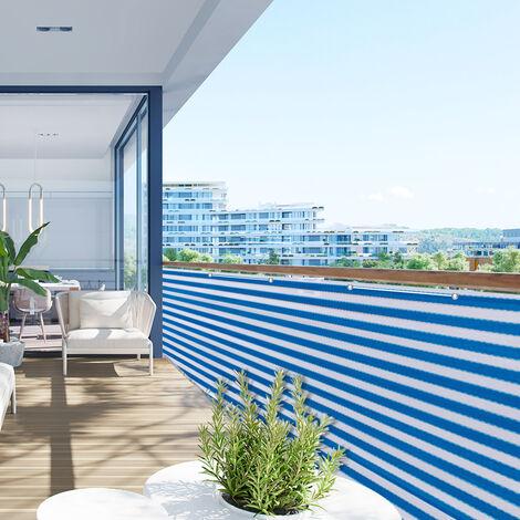 Brise Vue Balcon Jardin Terrasse en HDPE 220 gr/m² Bleu-Blanc à Rayures 5 m x 0,75 m