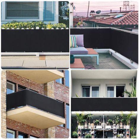 Sekey Brise-Vue pour Balcon ou Jardin Couverture de confidentialité Écran Polyster PES Vent Protection UV avec Attaches de câble et Cordons, Noir