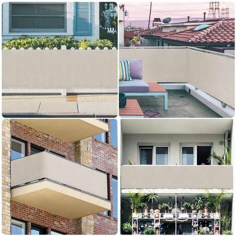Sekey Brise-Vue pour balcon PES 90 x 300cm, Taupe