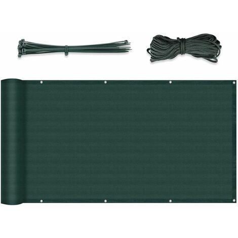 Brise-Vue renforcé HDPE 220 g/m² avec Oeillets, Attaches de câble et Cordons, vert 0.75 x 3 m