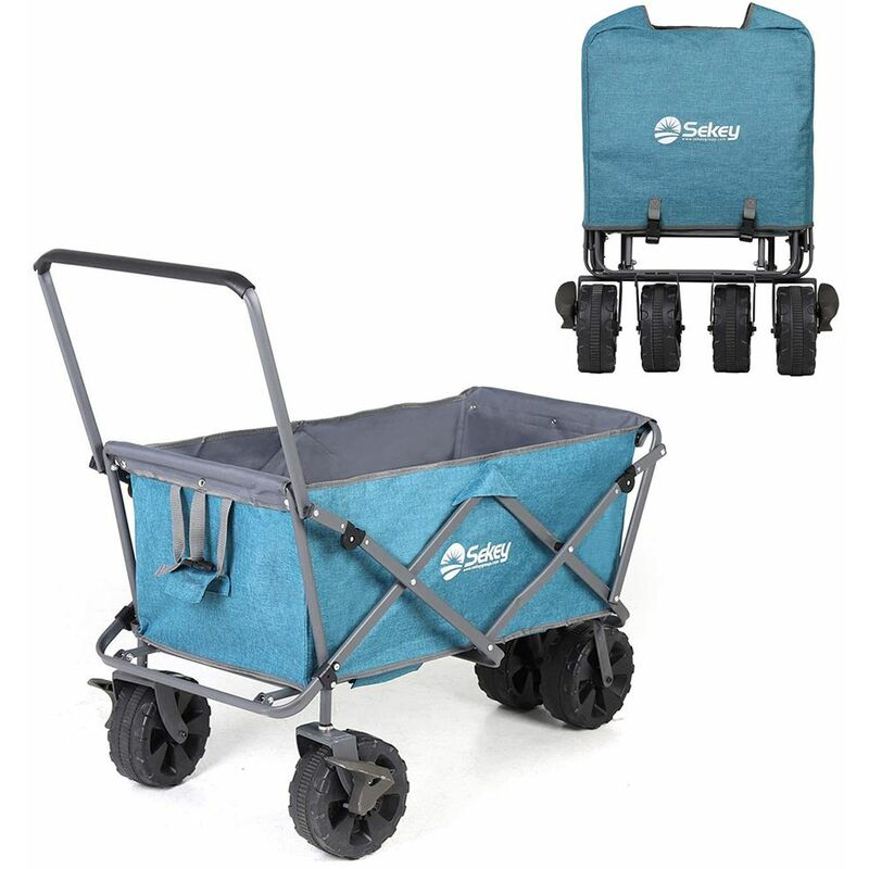 Bleu Sekey Chariot Pliant avec toit Chariot de transport avec freins Chariot de Plage Chariot de Jardin Pliable pour Tous Les terrains