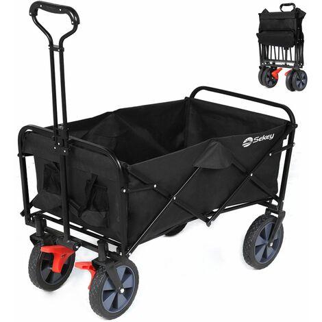 Sekey Chariot de jardin pliable avec freins Charrette pliable Charrette à main pliant Chariot remorque de jardin d'extérieur Chariot de transport