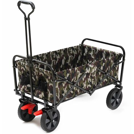 Sekey Chariot de jardin pliable avec freins Charrette pliable Charrette à main pliant Chariot remorque de jardin d'extérieur Chariot de transport, Camo