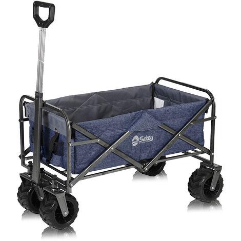 Sekey Chariot de transport avec toit Chariot Pliant Chariot de Plage Chariot de Jardin Pliable pour Tous Les terrains