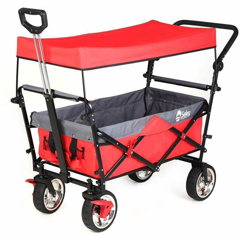 Chariot pliant avec toit, poignée, Chariot de Plage, Chariot de Jardin pour Tous Les terrains Rouge - SEKEY