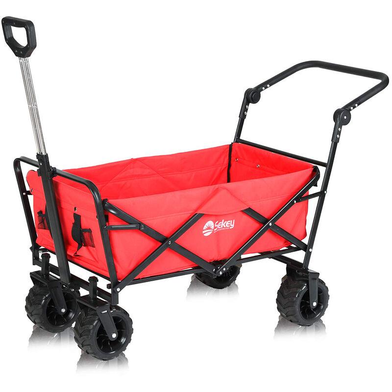 Charrette de Jardin Pliable 80kg + double freins Tout Terrain Brouette extérieure Acier 98 x 50 x 60 cm Rouge - SEKEY